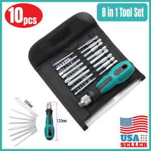 10PC Screwdriver Magnetic Precision Phillips Slotted Bits Repair Tool  Flat Head