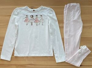 JANIE AND JACK Ballerina Tee & Pink Leggings Set Outfit Size 12