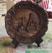 Ancien Décor Sculpté Port de Pêche Filet Bateau Voilier Phare Pêcheur Coquille