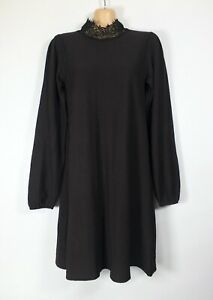 ZARA black textured lace high-neck long-sleeve Governess tunic dress, S/8-10