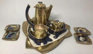 Mexican Modernist Salvador Teran Mosaic Brass Coffee/Tea MCM Service Set NR