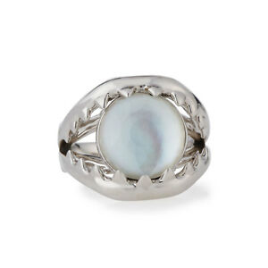 Stephen Webster Les Dents De La Mer Crystal Haze Silver Ring Mother of Pearl 7