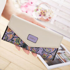 Womens Ladies Floral Envelope Clutch Purses Leather Long Handbag Bag Card Wallet