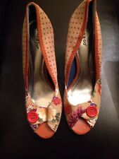 Bamboo Peep Toe Floral And Polka Dot Fabric Heels With Button Accent