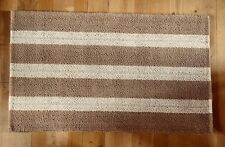 Cotswold Company light brown & cream stripe knotted pile wool rug 153cm x 91cm