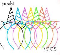7PCS Unicorn Headband children girl HairHoop Party Accessories Birthday Headwear