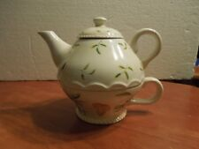 Harry and David Tea for 1 tea cup, teapot, lid, green & yellow flowers pink trim