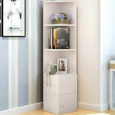 White Corner Bookshelf Bookcase 2 Door Cabinet 3 Shelves Display Book Storage UK