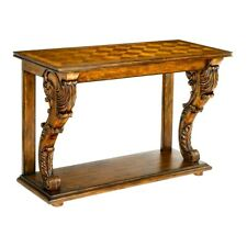 "NEW GRAND 56"" FRENCH HAND CARVED HARDWOOD PARQUETRY TOP CONSOLE TABLE"