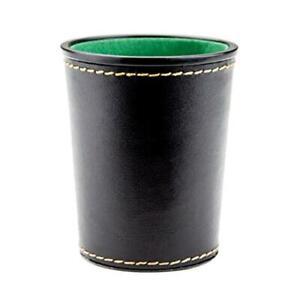 Leather Dice Cup Set Felt Lining Quiet Shaker for Farkle Yaht-zee Games   Black