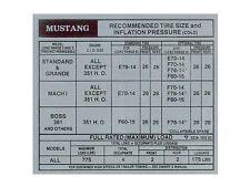 Mustang Tire Pressure Door Decal 1972 - Osborn Reproductions