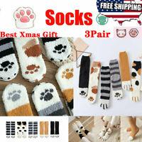 3 pair Winter Cat Claws Cute Thick Warm Sleep Floor Socks Warm Soft Winter Gift