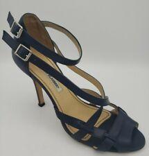Manolo Blahnik Navy Blue Strappy Sandal Heel Pump Women Size 39 7 Leather Italy