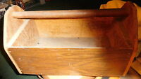 Vintage Handmade Primitive Wooden Tool box Cutlery Caddy Wood Handle bin carrier