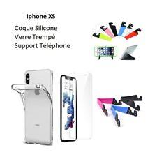 Accessoire pour Iphone X XS, Coque Silicone Film Verre Support Téléphone
