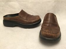 Dansko Brown Leather Moc Toe Slip On Mules Clogs Women's Size 6.5 US / 37 EU