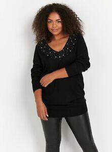 Evans Womens Black Embellished V Neck Jumper Long Sleeve Knitwear Top Blouse
