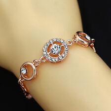 Womens 9K Rose Gold Plated Crystal zircon Cuff Bangle Bracelet Jewelry Gift