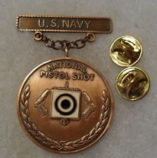 """60'S/70'S US NAVY BRONZE PISTOL SHOT FOR """"NATIONAL"""" COMPETITIONS MEDAL"""