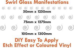 Glass manifestations 1250mm, safety stickers, swirl 50mm / 75mm /100mm high