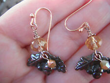 Gold Bead , Acorns On Copper Tree Branch Charm & Faceted Crystal Earrings