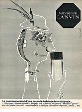 PUBLICITE ADVERTISING  1963   LANVIN  parfum  MONSIEUR