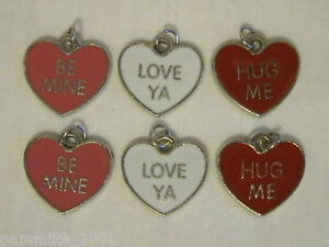 SET OF 6 HEART VALENTINE LOVE SILVER COLOR ENAMEL SCRAPBOOK JEWELRY CHARMS *NEW*