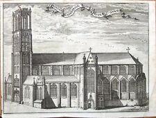 BELGIUM,GHENT SAINT BAVO CATHEDRAL  Francois Foppen Antique Print  1720