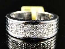 Mens White Gold Finish Round Cut White Diamond Pave Wedding Band Ring 1/2 Ct