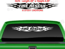 #148 FIRE RESCUE Tribal Flame Windshield Sticker Window Decal Graphic Design Car
