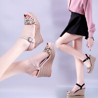 Women's Summer Casual Leopard Open Toe Platforms Sandals Wedges High Heel Shoes