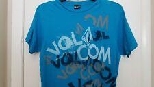 VOLCOM  Blue, Turquoise, White & Gray Graffiti Graphic T-Shirt Men's Sz S EUC