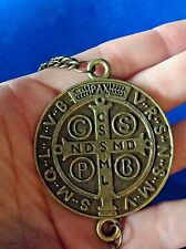 St BENEDICT NECKLACE Pendant Protection Antiqued Bronze Tassel Large 28""