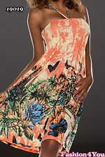 Women's Floral Dress Summer Casual Holiday Beach Sundress One Size 8 10 12 14 UK Coral / Creamy
