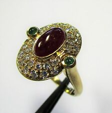 1364 - Bezaubernder Ring aus Gelbgold 750 - Rubin Smaragd Diamanten - 2204/3