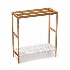 3 x Rail White Bamboo Wood Towel Rack  Wooden Shelf Storage Stand