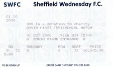 Billete-Sheffield Wednesday V Premier Allstars XI 01.10.00 Hirst testimonios