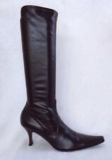 CASADEI Sz 7.5 Dark Brown  Leather Stretch Pull On Knee High Boots Shoes
