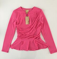 H&m peplum faldillas barro top camisa blusa jersey rosa fruncido talla xs 32-34