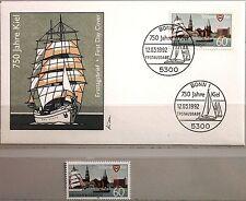 BRD GERMANY 1992 1598 1738 + FDC 750th Ann City of Kiel Ships Coat of Arms MNH