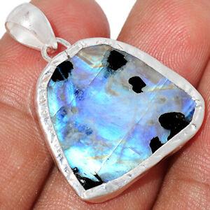 Natural Rainbow Moonstone And Quartz Rough 925 Silver Pendant Jewelry BP78547