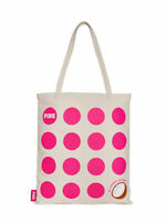 Victorias Secret PINK Polka Dot Coconut Beige Canvas Shopping Beach Bag Tote New