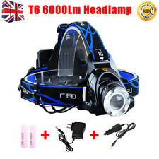 LED Headlight Torch T6 Headlamp Head Light Lamp Rechargeable 6000Lm+Batteries