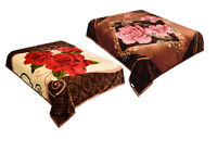 2 Ply Floral Brown Blanket Reversible Queen Size Plush Soft Mink NEW
