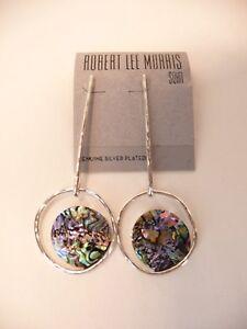 Robert Lee Morris Silver Plated Abalone Drop Dangle Blue Dimension Earrings