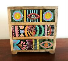 Small Hand Painted Chest of Drawers, African Style, Fair Trade, Made in India