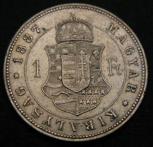 HUNGARY 1 Forint 1887 KB - Silver - Franz Joseph I. - VF - 732