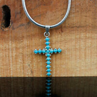 Beautiful Natural Turquoise Pendant Cross Handmade Unique Stylish Jewelry Gifts