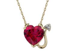 1.75 quilates (quilates rubí creado) Diablo Corazón Colgante Oro Plateado Plata Esterlina
