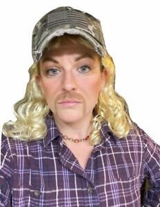 Joe Exotic Tiger King Blonde Mullet Wig Curly 80's Hillbilly Adult Costume